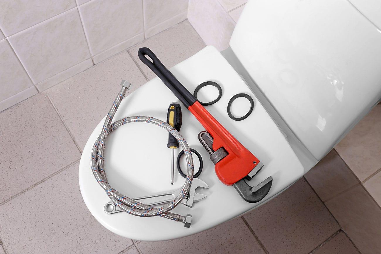 tools on toilet